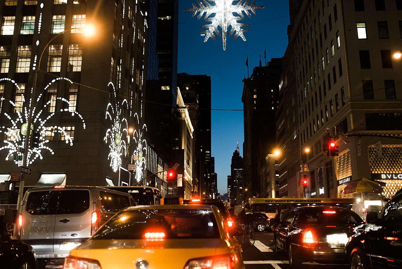new york traffic by night