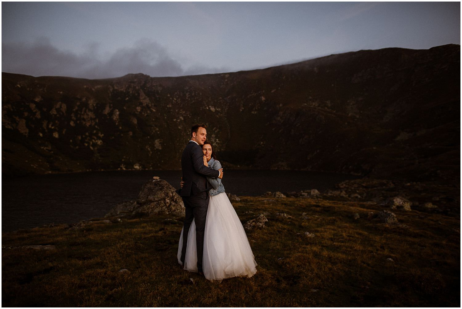 adventure elopement in the mountains at sunrise