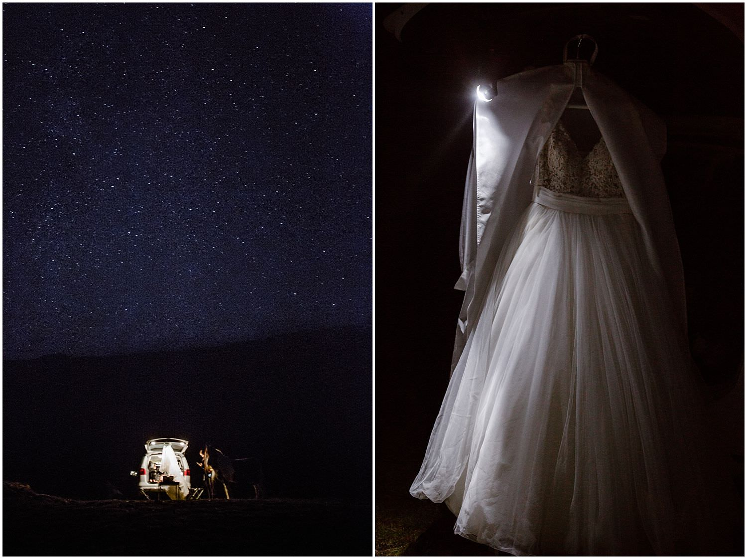 elopement getting ready night sky