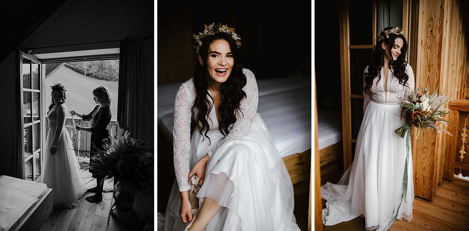 Bride getting ready for her elopement in Austria