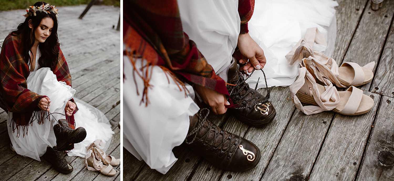 Hiking elopement bride in Austria