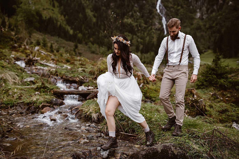 Bridal portraits at a waterfall in Austria