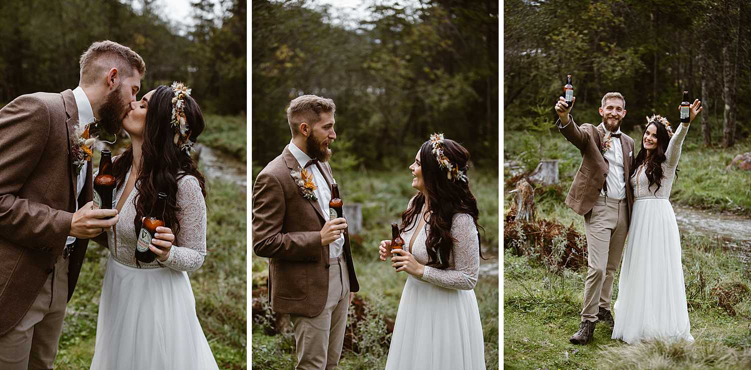 Newly weds celebrate with drinking guinness beer