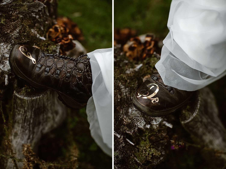 Elopement hiking boots