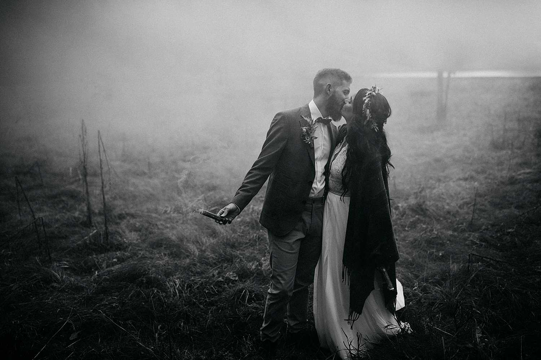 Smoke bombs wedding photos