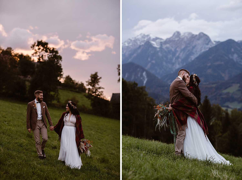 Sunset mountain elopement Austria